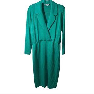 ST JOHN SWEATER DRESS WORK Emerald green